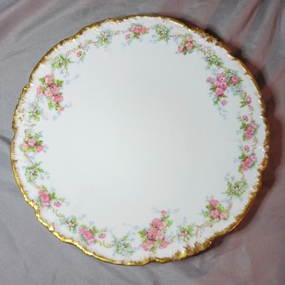 VTG Limoges Porcelain Floral Gold Trim Plate
